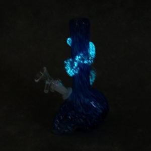 "7.5"" Color Twist Glow-in-the-Dark Skull Shaped Soft Glass Water Pipe w/GOG Downstem, Fancy Wrap & Marble"