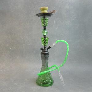 "23"" Sun Single-Hose Decorative Glass and Plastic Hookah w/Ceramic Bowl & Tongs"
