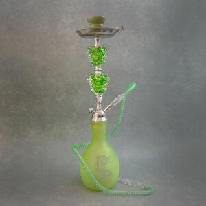 """22"""" Single-Hose Silver Metal Nefertiti Glass Hookah w/Ceramic Bowl & Tongs"""