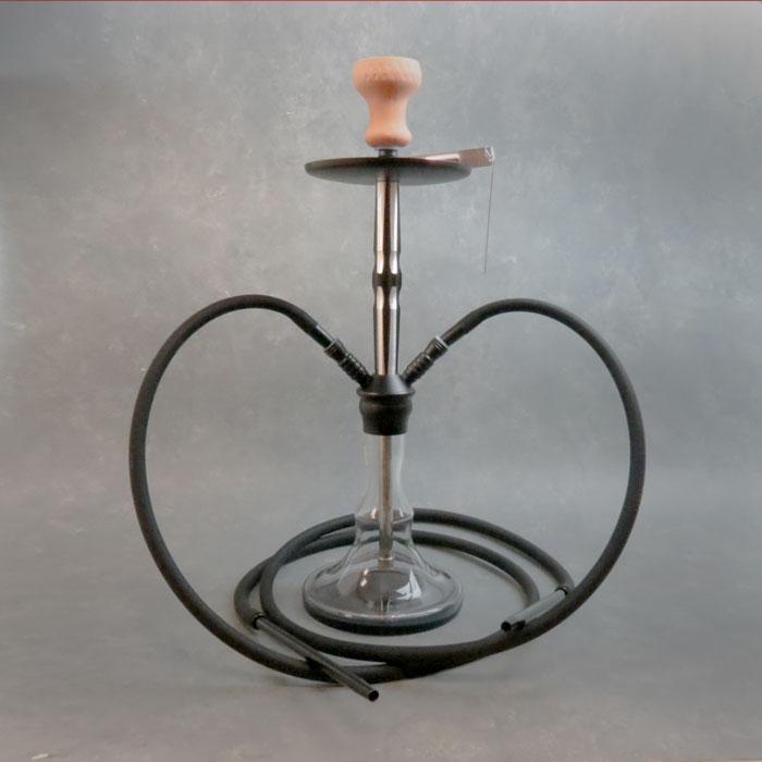 "24"" Dual Hose Wavy Vase Aluminum and Glass Hookah"