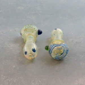 """4"""" Fumed Latticino Glass Hand Pipes w/Ring, Bump & Carb"""