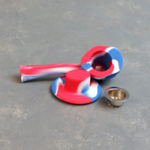 """4.5"""" Cowboy Skull Silicone Hand Pipes w/Metal Bowl and Hat Cap"""