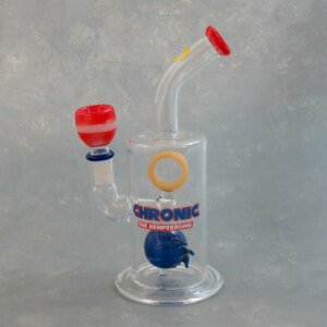 """8"""" Chronic the Hemperbong Oil Rig Style Glass Water Pipe with Blue Perc [Hemper]"""