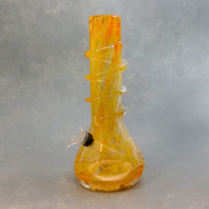 """10"""" Color Streak Vase Style Soft Glass Water Pipe w/Coil Wrap & Slide Bowl"""