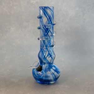 """10"""" Single Color Streak Curvy Vase Style Soft Glass Water Pipe w/Coil Wrap & Slide Bowl"""