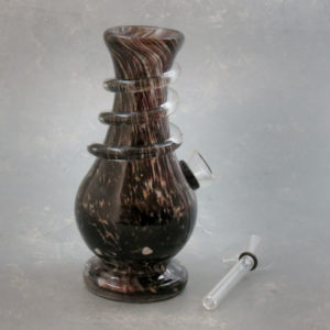 """6"""" Color Blots to Glitter Twist Wide Mouth Vase Style Soft Glass Water Pipe w/Coil Wrap & Slide Bowl"""