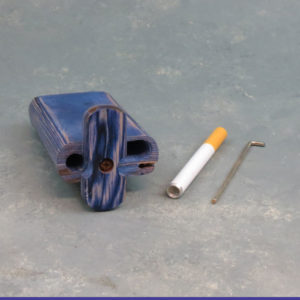 """4"""" Blue Twist-Top Wood Dugouts w/Poker and 3"""" Metal Cigarette One-Hitter"""