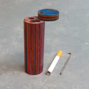 """4"""" Round Color Layered Wood Dugouts w/Poker and 3"""" Metal Cigarette One-Hitter"""