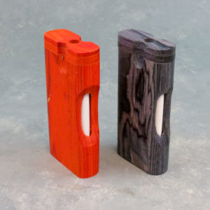 """4"""" Rounded Twist-Top Wood Dugouts w/Cutout & 3"""" Metal Cigarette One-Hitter"""