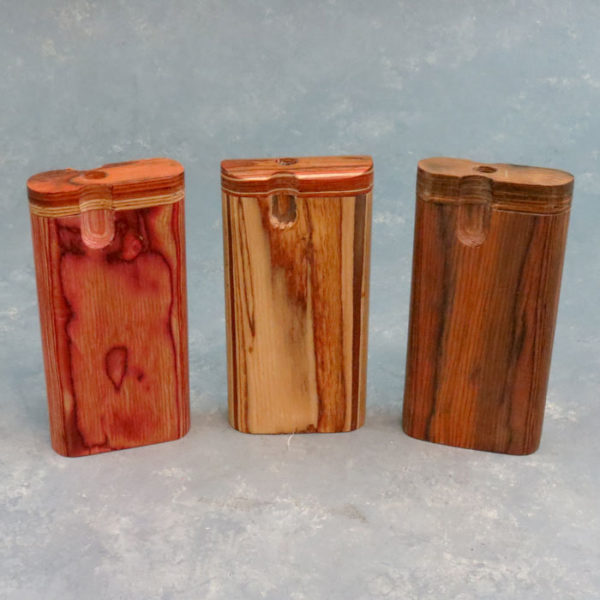"""4"""" Rounded Wood Grain Twist-Top Dugouts w/3"""" Metal Cigarette One-Hitter"""