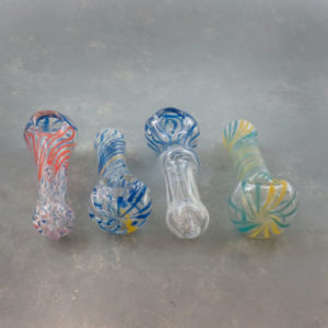 """5"""" Long Spoon Style Inside-Out Latticino Twist Glass Hand Pipes"""