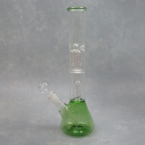 """12"""" Beaker Style Double Dome Perc Glass Water Pipe w/Ice Catch & Diffused Downstem"""