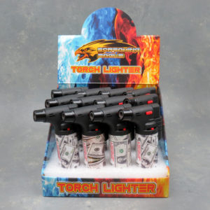 4.5″ Screaming Eagle Refillable Single Adjustable Torch Lighters w/Money Designs