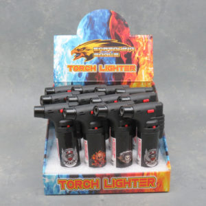 4.5″ Screaming Eagle Refillable Single Adjustable Torch Lighters w/Skull Designs