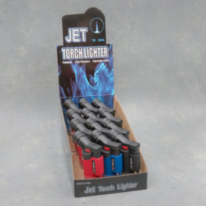 3″ Angled Refillable Adjustable Jet Torch Lighters w/Lock, Cap & Lanyard Hole