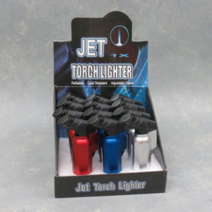 """4"""" Octagonal Refillable Adjustable Angled Single Torch Lighter w/Lanyard Loop & Nozzle Protector"""
