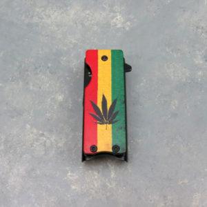"""1.5"""" Rasta Leaf Spring-Assisted Lighter Knife"""