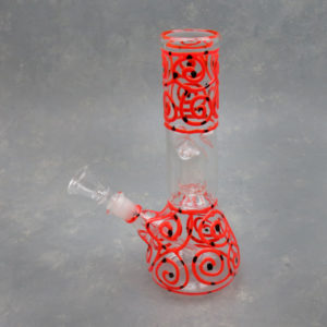 """8.5"""" Swirls & Dots Dome Perc Glass Water Pipe w/Ice Catch and 14mm Downstem Bowl"""