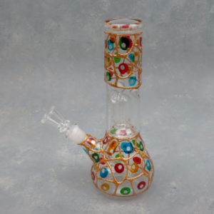 """8.5"""" Colorful Spots and Glitter Dome Perc Glass Water Pipe w/Ice Catch and 14mm Downstem Bowl"""