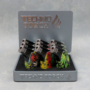 """4.5"""" Techno Torch Slant Torch Lighters w/ Leaves Designs"""