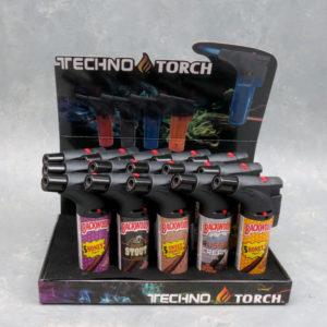 "5"" Techno Torch Refillable Single Slant Adjustable Jet Flame Lighters w/Backwoods Designs"