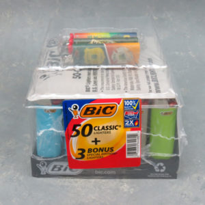 """3"""" Bic Classic Lighters - Tray of 50 - Plus 3 Free Mixed Lighters"""