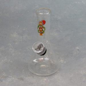 "5"" Beaker-Shaped Glass Mini Bubbler/Water Pipe w/Mixed Graphics"