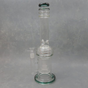"""17"""" Triple Honeycomb/Heart Perc Straight Tube Glass Water Pipe w/Ice Catch & Ribbing"""
