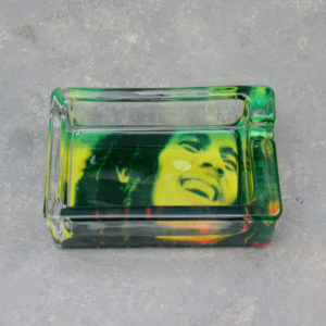 "3.25"" x 2.15"" Bob Marley Rectangle Glass Ashtrays"