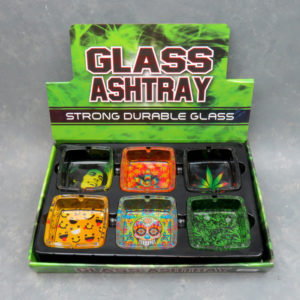 "3.75"" Assorted Graphics Square Glass Ashtrays"