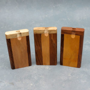 4″ Two Tone Wooden Dugouts w/Rounded Edges & 2.75″ Metal Cigarette One-Hitter