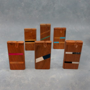 """4"""" Striped Inlay Wooden Dugouts w/Rounded Edges & 2.75"""" Metal Cigarette One-Hitter"""