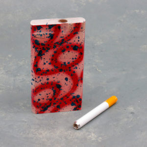 """4"""" Painted Designs Wooden Dugouts w/2.75"""" Metal Cigarette One-Hitter"""