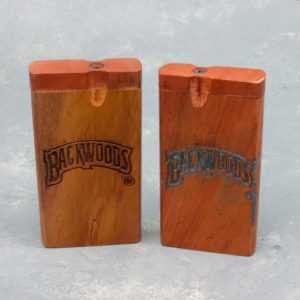 """4"""" Backwoods Engraved Wooden Dugouts w/Rounded Edges & 2.75"""" Metal Cigarette One-Hitter"""