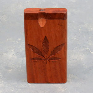 """4"""" Leaf Engraved Wooden Dugouts w/Rounded Edges & 2.75"""" Metal Cigarette One-Hitter"""