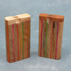"""4"""" Color Inlay Strips Wooden Dugouts w/2.75"""" Metal Cigarette One-Hitter"""