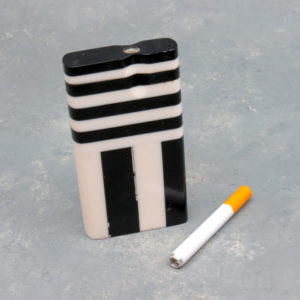 """4"""" Color Striped Acrylic Dugouts w/2.75"""" Metal Cigarette One-Hitter"""
