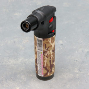 5″ Clickit Refillable Single Adjustable Torch Lighters w/Camo Designs & Display