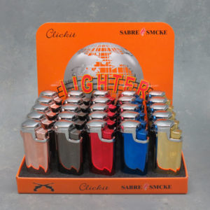 "3.5"" Clickit Metallic Triple-Torch Flip-Top Refillable/Adjustable Lighters"