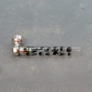 "4"" D&K Glass Hand Pipes w/Metal Bowl & Screens"
