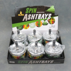 """3.5"""" Spinner Ashtrays w/Assorted 420 Graphics"""