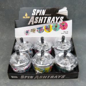 """3.5"""" Spinner Ashtrays w/Assorted Skull Graphics"""