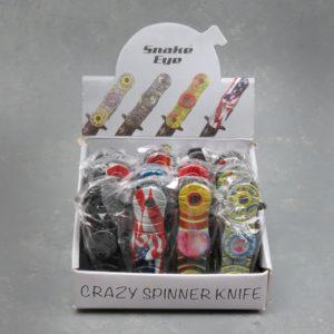 "2"" Snake Eye Fidget-Spinner Spring-Assisted Knives w/Assorted Designs"
